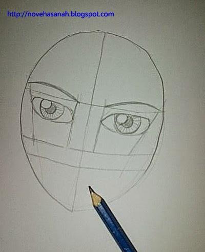 berikan lingkaran pupil dan tambahkan garis-garis untuk membuat iris pada bola mata karakter anime