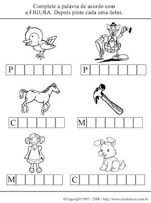 Atividades para Alfabetizar - Complete o nome da figura