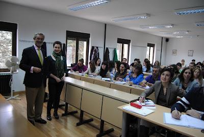 Olga Casal y José Luis Delgado en la Universidad de Salamanca