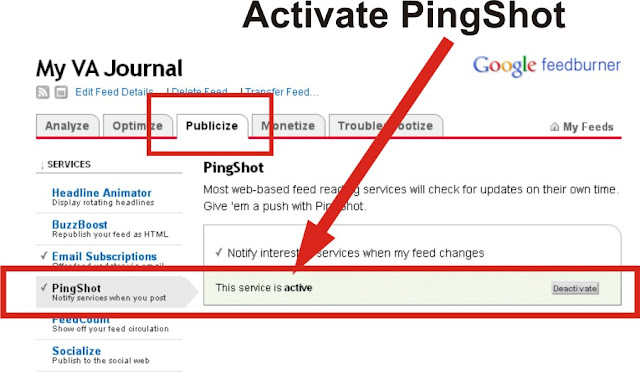 how to activate feedburner pingshot