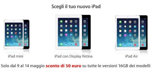 Sconto di 50 euro sui prezzi online di Apple iPad Air, Mini e Retina display da Mediaworld