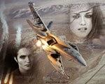 Efeito de foto ou montagem com um avião de caça