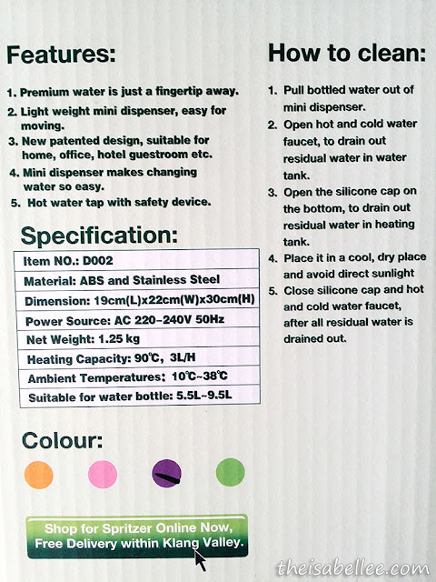 Spritzer Hot & Warm Mini Dispenser information