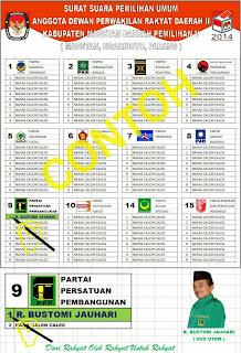 Contoh Surat Suara Pemilu 2014
