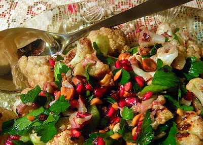 Closeup of Platter with Cauliflower salad