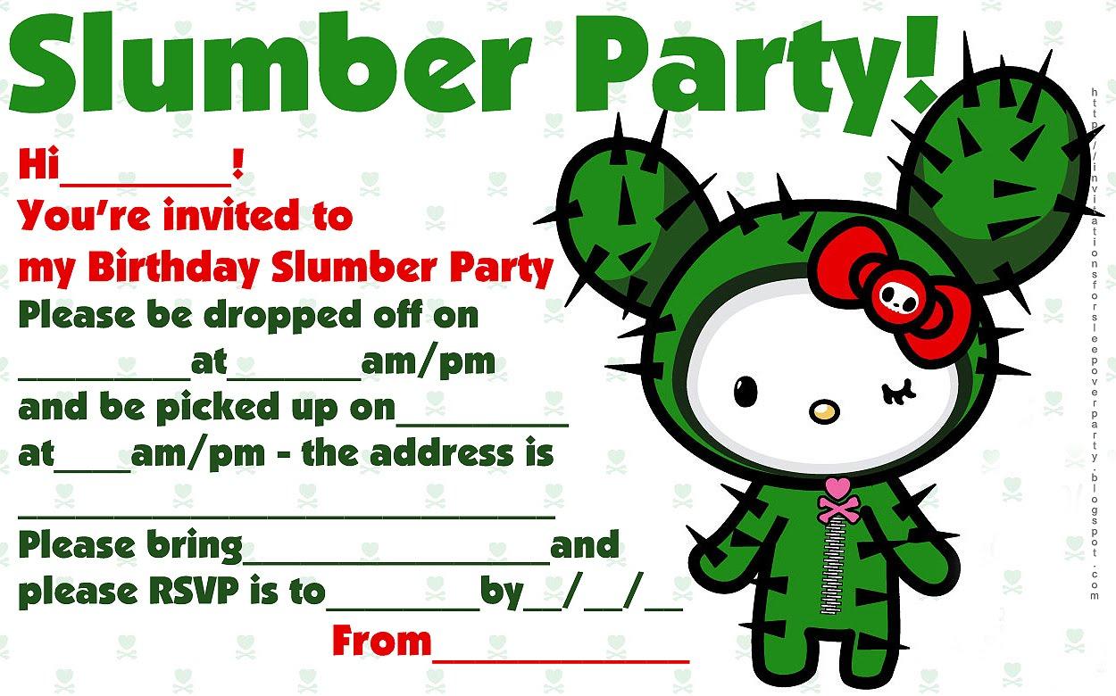 hello kitty tokidoki slumber party invite jpg 1250 780