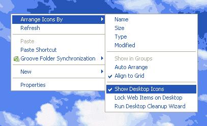 menyembunyikan icon di desktop
