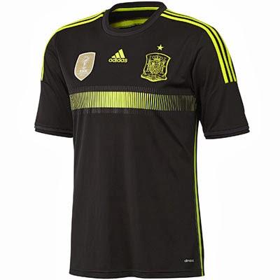 segunda camiseta selección española negra Mundial 2014