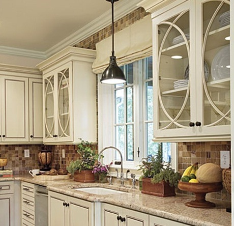 Updating The Kitchen Cabinets By Adding Glass Inserts In Doors Creates A Huge Impact On Low Budget