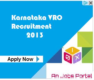 Karnataka VRO Recruitment 2013 in Revenue Department for Village Accountant Officer Apply Online