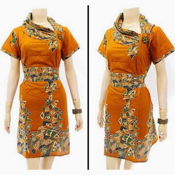 DB3820 Model Baju Dress Batik Modern Terbaru 2014