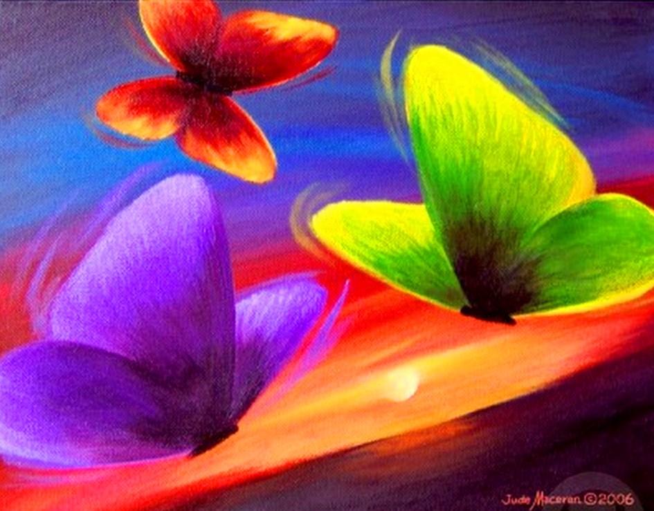 Cuadros pinturas oleos cuadro sencillo con mariposas - Cuadros con colores calidos ...