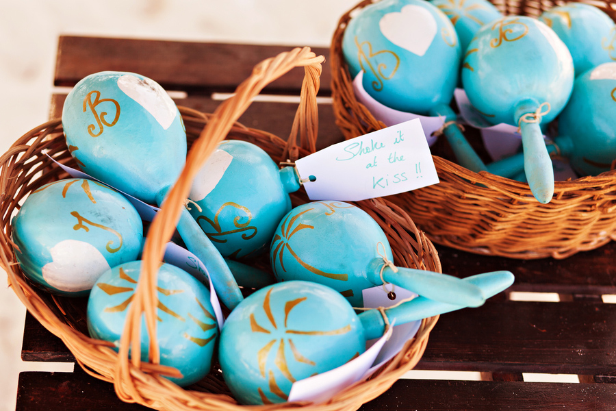 Mexico destination wedding, Tulum weddings, personalized maracas wedding favors
