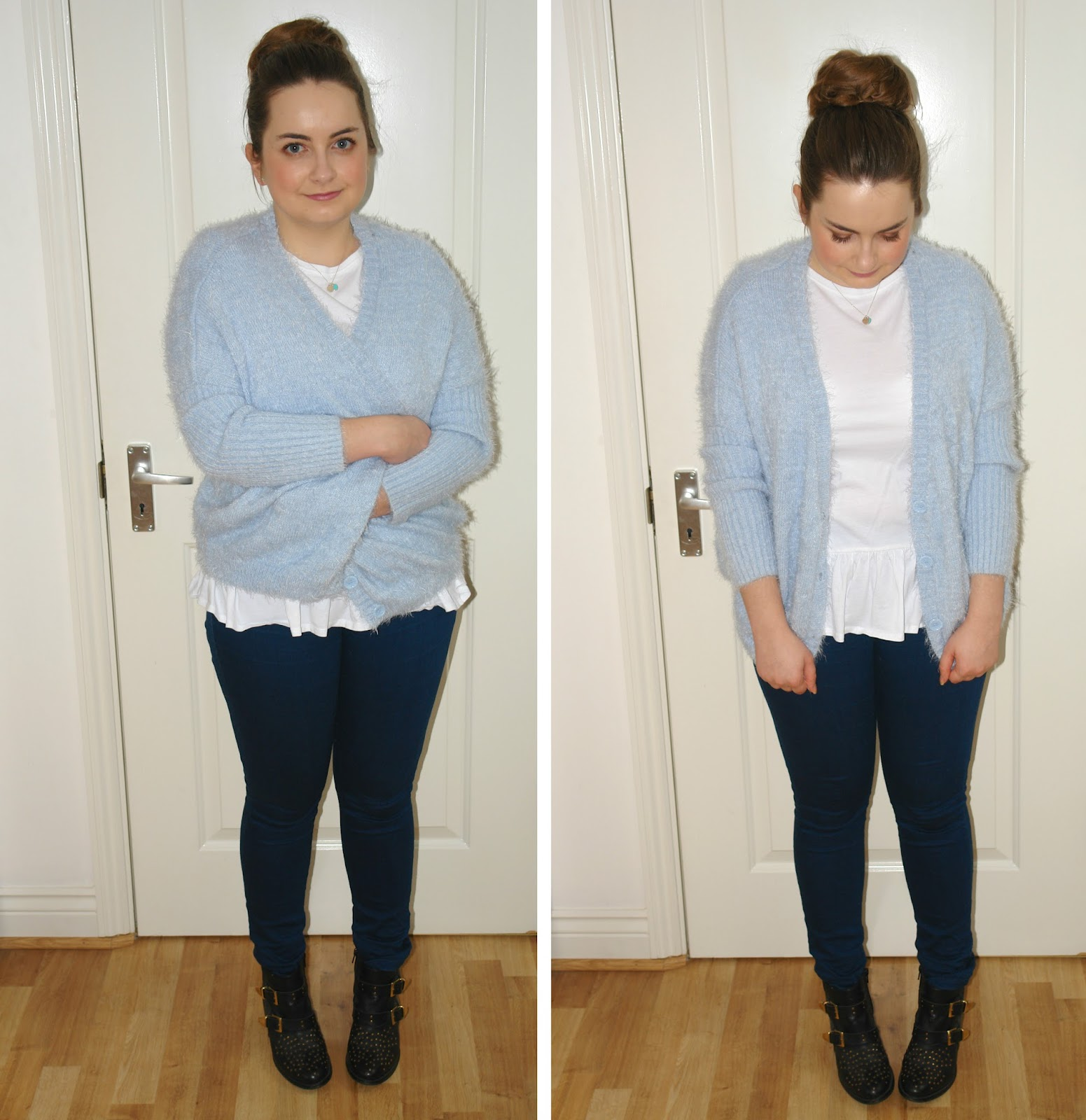 WHAT I WORE TODAY: fluffy pale blue jumper with Tiffany jewellery, Tiffany bow stud earrings, Return to Tiffany double heart tag pendant, WHAT I WORE TODAY, WIWT, jumpers, blue, ASOS, Primark, jeans, Dorothy Perkins, Topshop, ankle boots, Tiffany, earrings, necklace, jewellery, outfit, OOTD fashion UK blogger