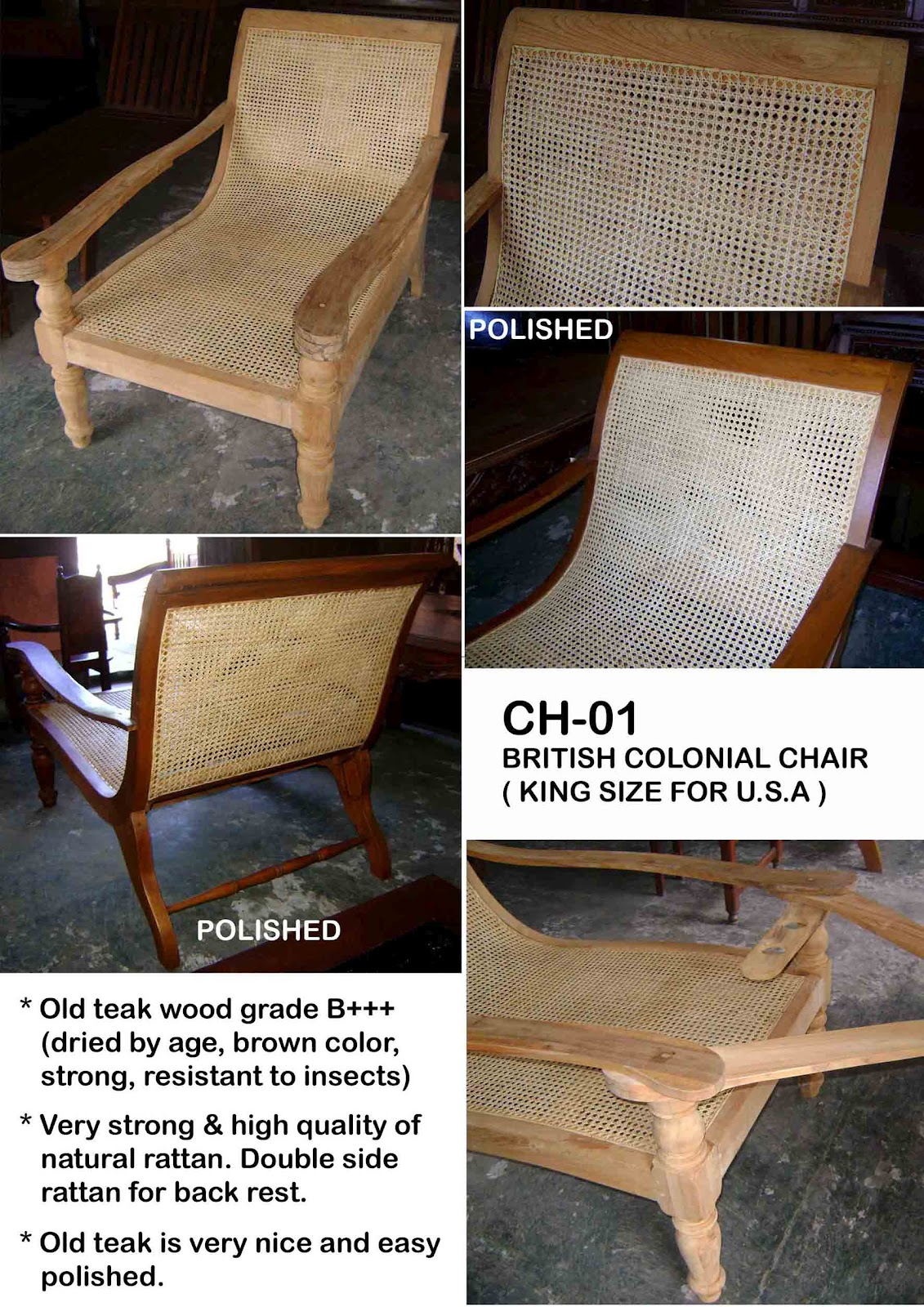 BRITISH COLONIAL CHAIR KING SIZE (CH 01K)