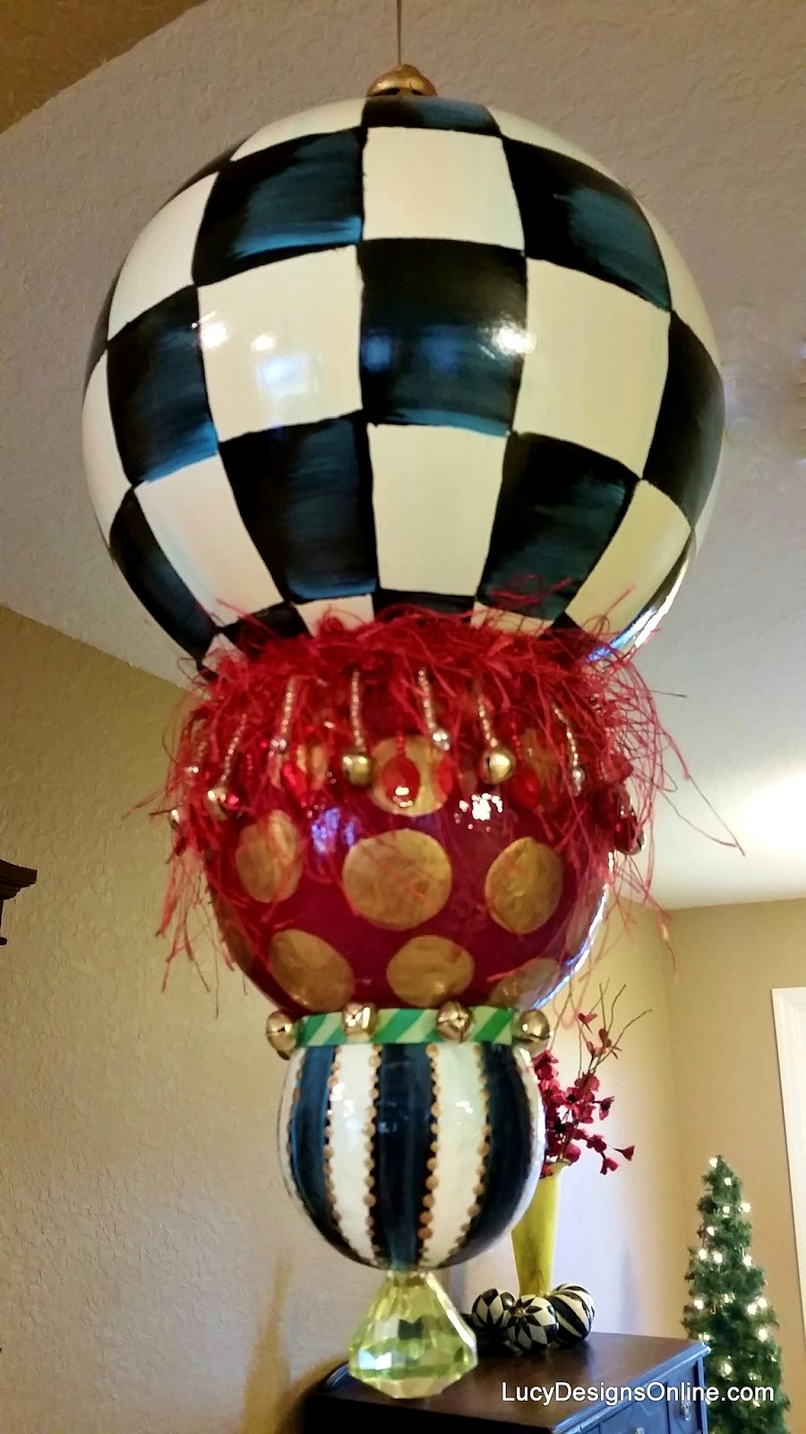 giant whimsical check and stripes Christmas ornament