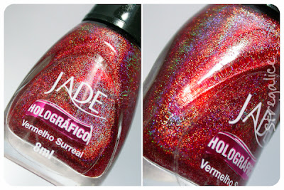 Jade Vermelho Surreal holographic red bottle detail