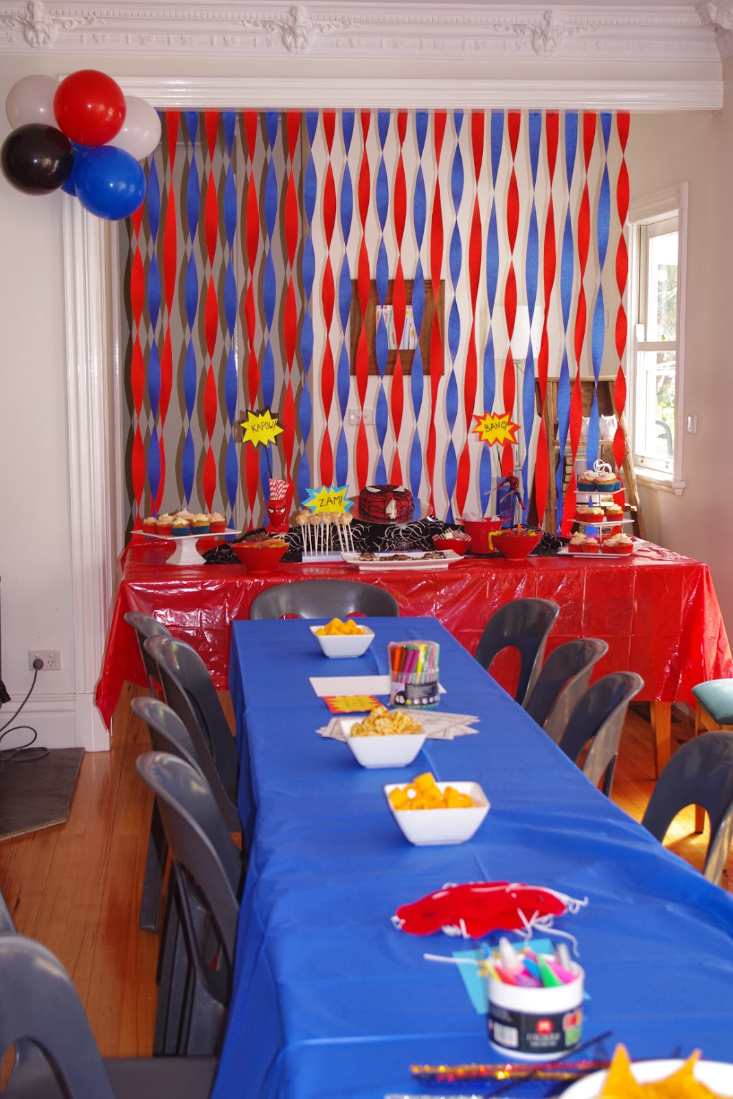 The noatbook spider man party on a budget for Spiderman decorations