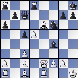 Posición de la partida de ajedrez Rey Ardid-Tartakover después de 18. d5!