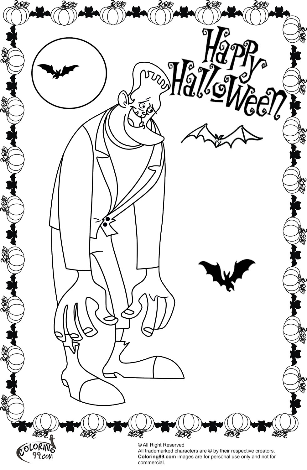 Frankenstein Halloween Coloring Pages   Team colors
