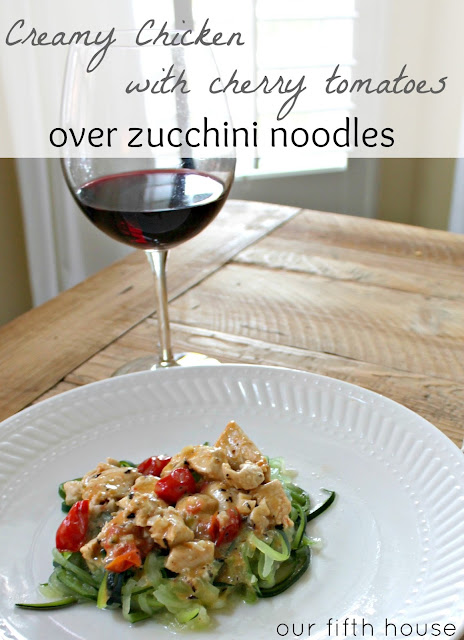 Creamy Chicken with Cherry Tomatoes over Zucchini Noodles