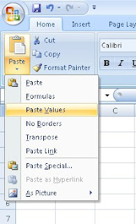 paste special Values Excel