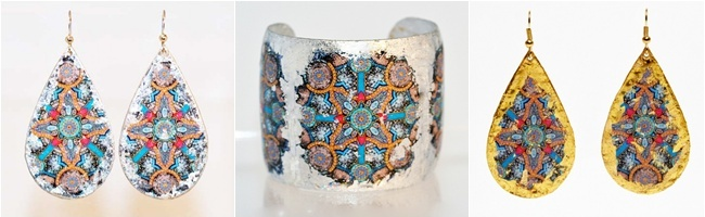 EVOCATEUR is a jewelry line made from the high quality 22K gold leaf as well as sterling silver leaf. Founder and designer Barbara Ross-Innamorati. Unique jewelry. Most beautiful jewelry.Evocateur Medieval line.