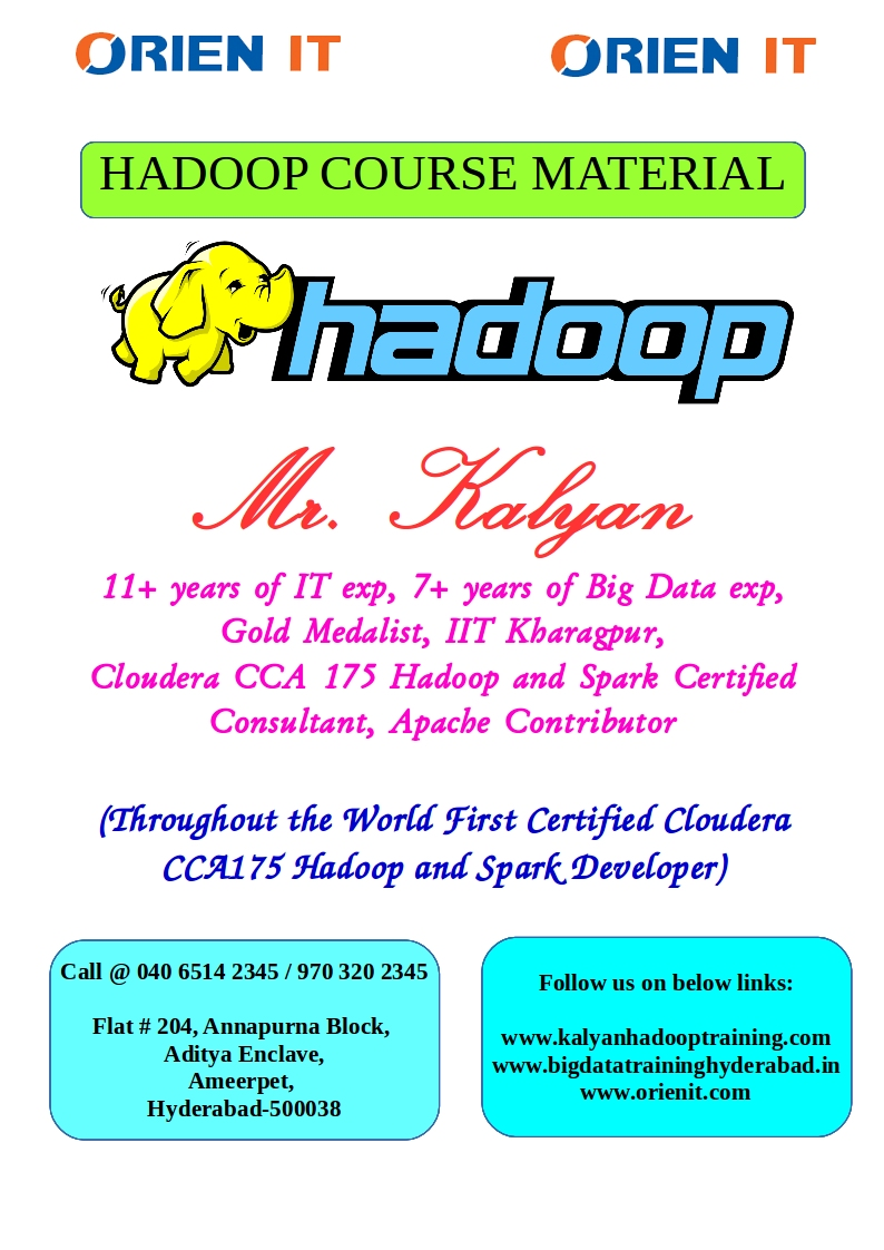 Kalyan Hadoop And Spark Training In Hyderabad Learn Big Data From