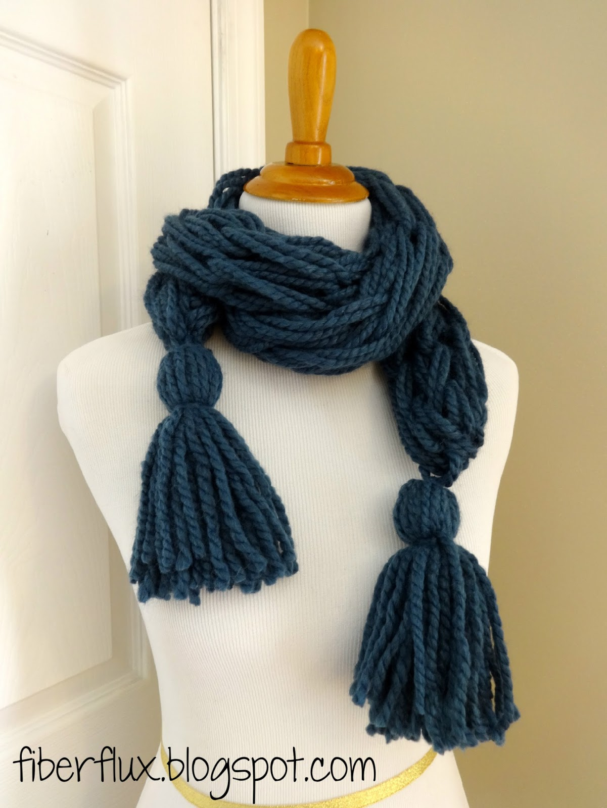 Fiber Flux: Free Knitting Pattern...Arm Knit Tassel Scarf!