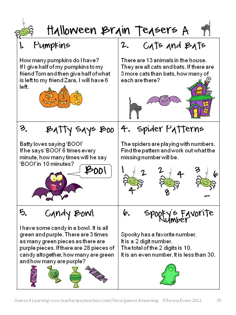 Fun Games 4 Learning Halloween Math Fun – Halloween Math Worksheets 4th Grade
