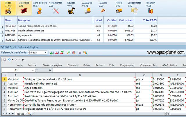 Opus Planet Liga con Excel