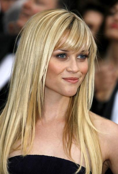 Long Blonde Hair with Bangs