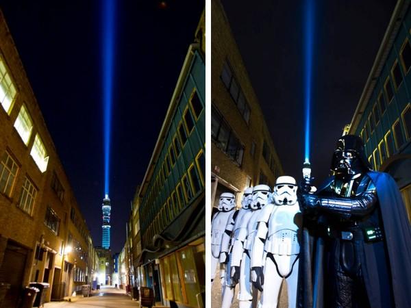 La Torre BT de Londres se convierte en el Lightsaber (Sable de Luz) más grande del mundo