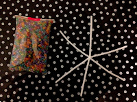 pony beads, pipe cleaners, snowflake, starfish, spotty tablecloth, Christmas, Christmas crafts,