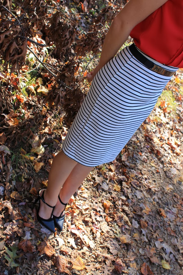 Target striped pencil skirt, red top, gold ASOS belt, BCBGeneration heels