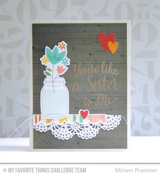 Like a Sister to Me Card by Miriam Prantner featuring the True Friends stamp set #mftstamps