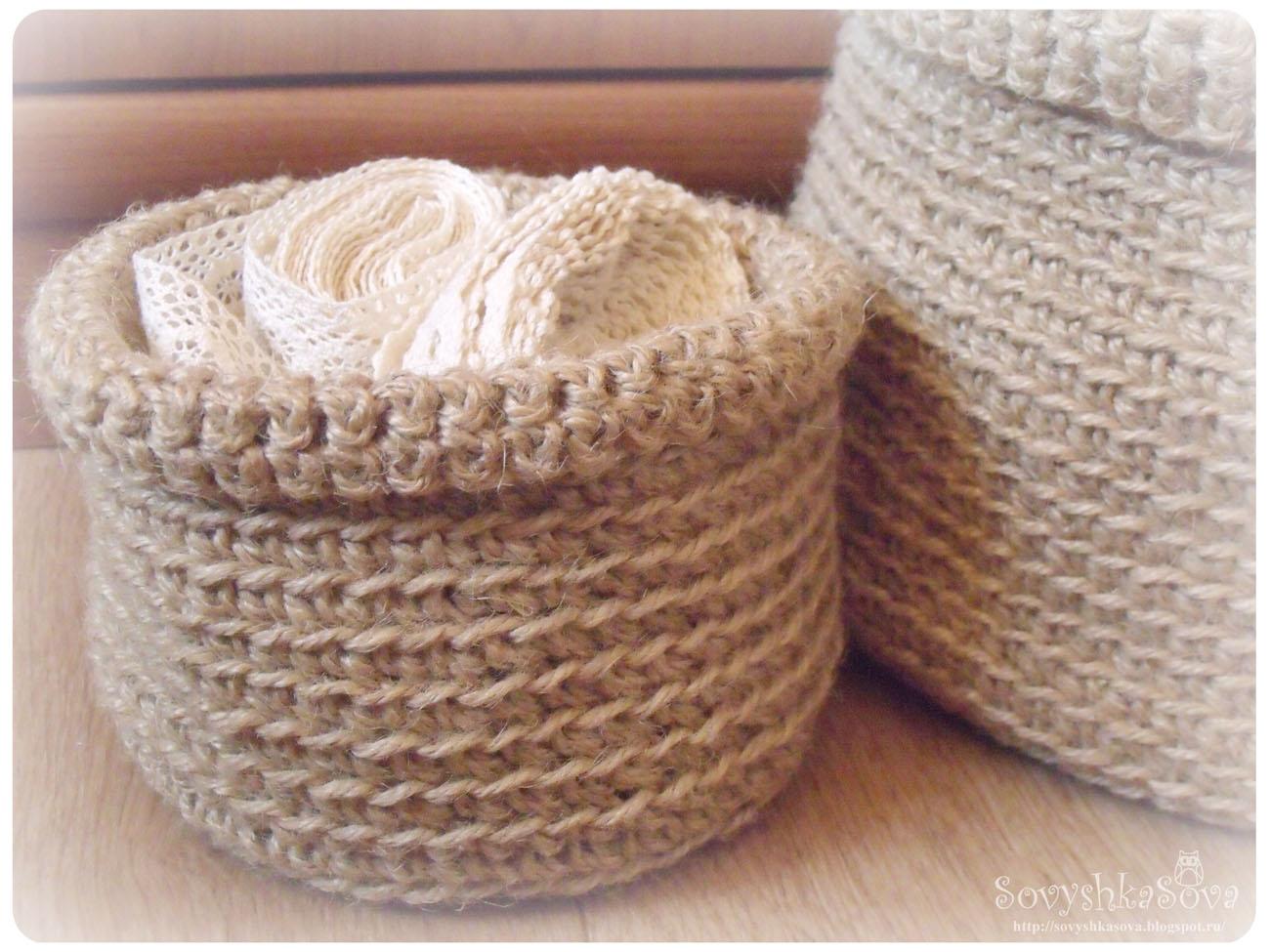Плетение вязание корзинок спицами крючком
