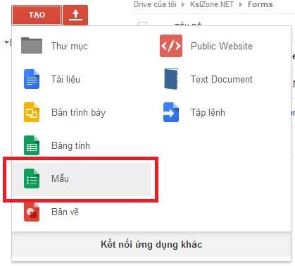 Tạo biểu mẫu trên Google Drive