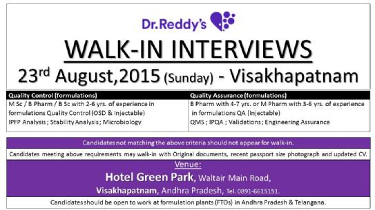 Dr.Reddy's Walkins 20th August 2015, M.Sc / B.Pharm / B.Sc Walkins Today, Dr.Reddy's Walkin Interviews August 2015, Dr.Reddy QC/QA Walkin Drive 2015