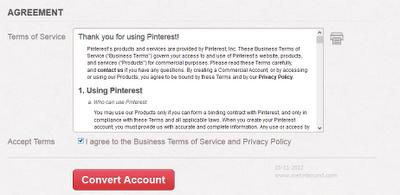 đồng ý với điều khoản dịch vụ và chính sách riêng tư Pinterest