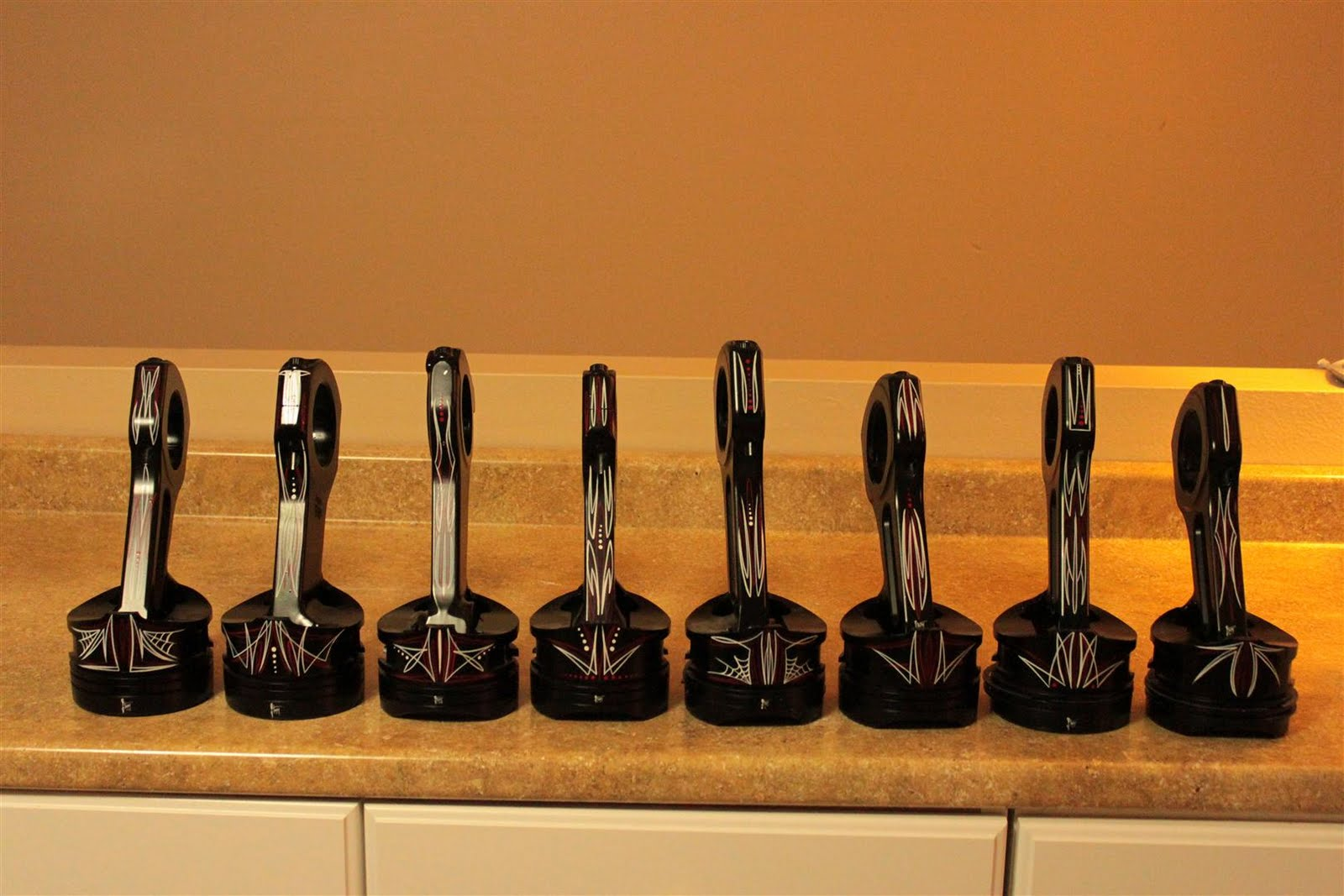 Andys Pinstriping Piston Trophies For The Car Show - Piston car show trophies