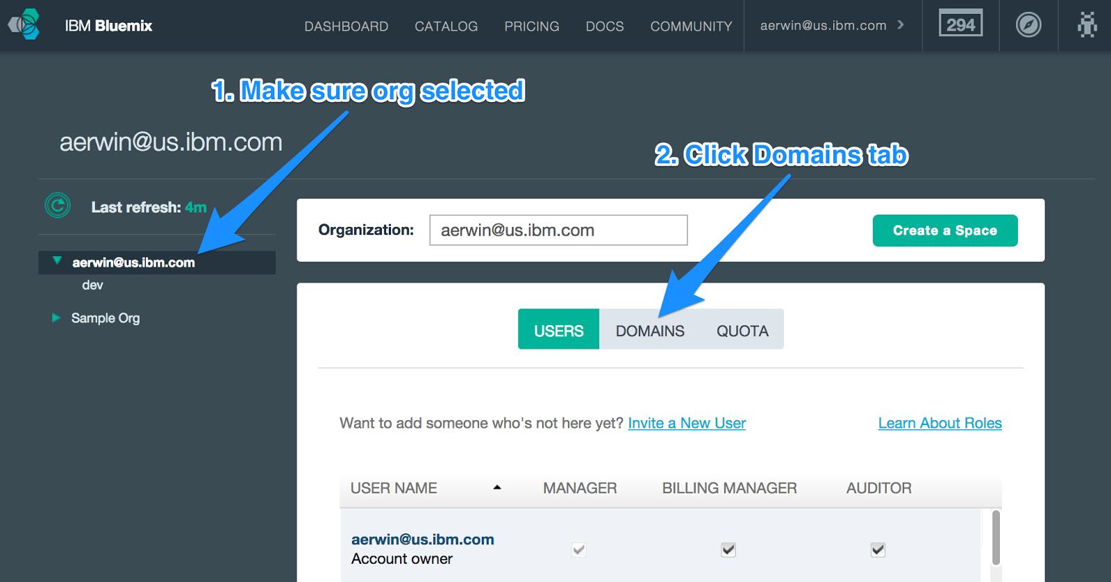 Bluemix UI: Manage Organizations Top-Level