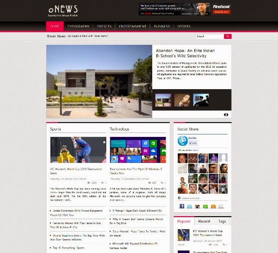 oNews Responsive News Joomla Template