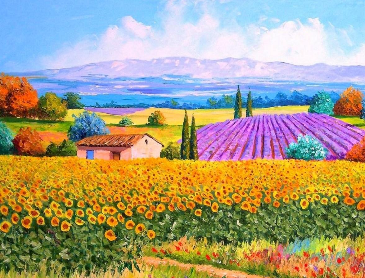 paisajes coloridos y floridos al oleo flores con espatula al oleo