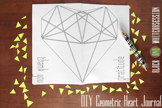 Very easy to make! Pretty DIY Geometric Heart Journal, front and back cover | www.blackandwhiteobsession.com