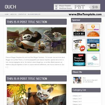 Ouch blogger template with 3 column footer blogger template