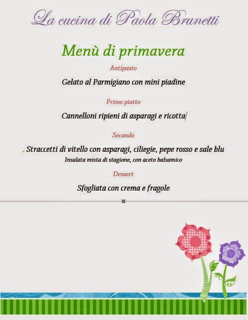Menù di primavera della cucina di Paola Brunetti
