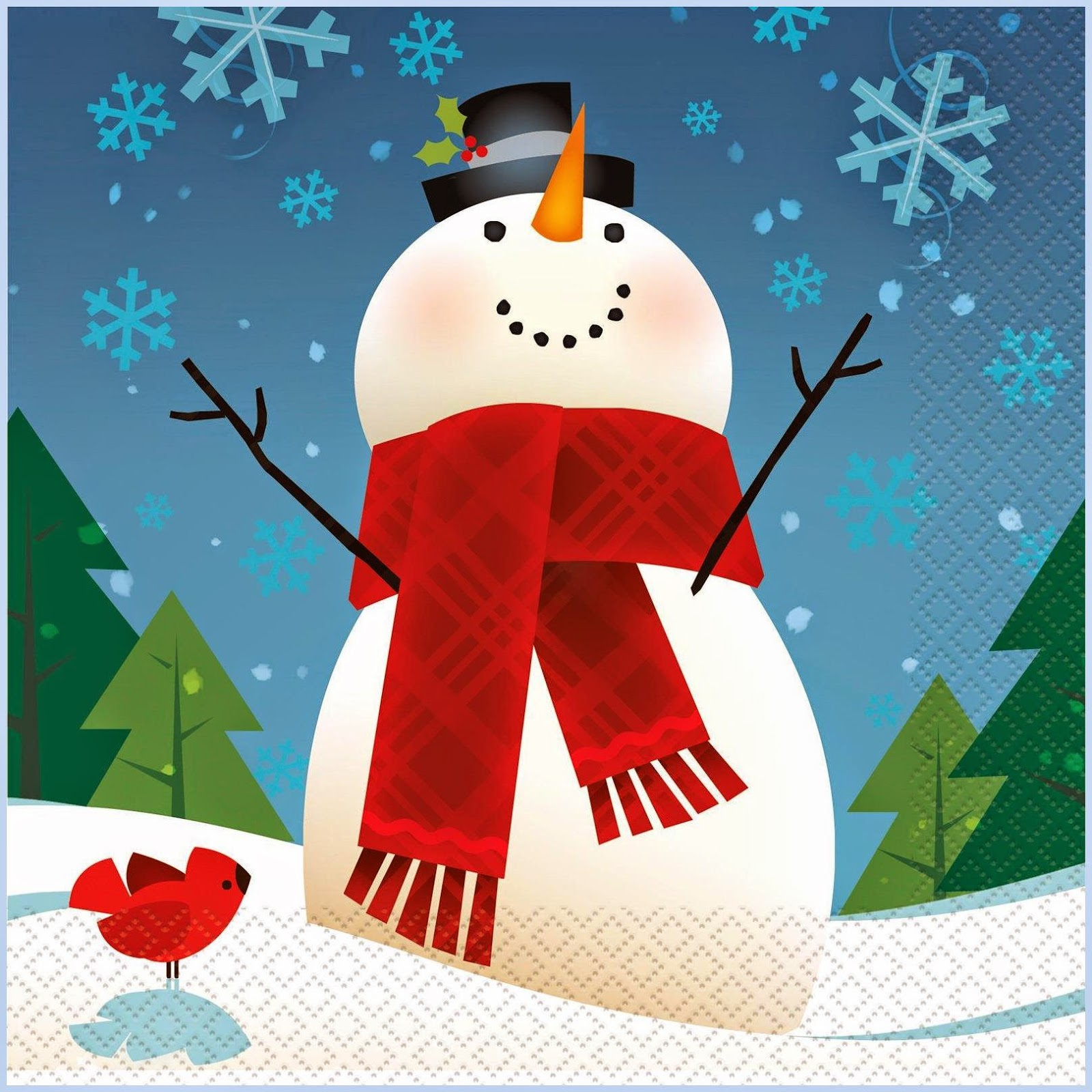 JoyFul SnowMan Lunch Napkin Christmas