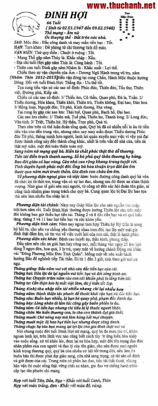 Xem tử vi tuổi Đinh Hợi nữ mạng năm 2012 Nhâm Thìn