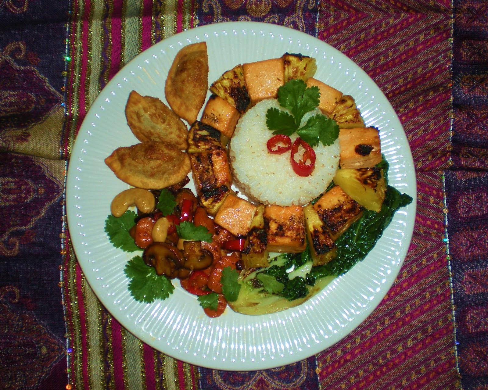 Grilled Pineapple and Orange-Ginger Tofu with Coconut Rice. Stir-Fried ...